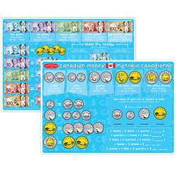 10Pk Canadian Money Learning Mat 2 Sided Write On , ASH95629