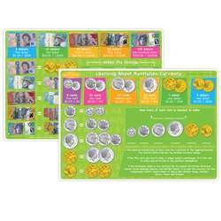 10Pk Australian Money Learning Mat 2 Sided Write O, ASH95630