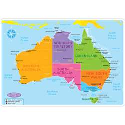 10Pk Australian Map Learning Mat 2 Sided Write On , ASH95632