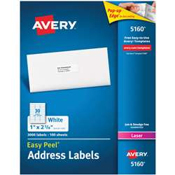 Avery Easy Peel White Address Labels 1X2 5/8 3000C, AVE05160