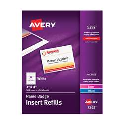 Avery Name Badge Inserts, AVE05392