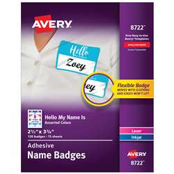 Flexible Adhesive Name Badge Labels Hello My Name , AVE08722
