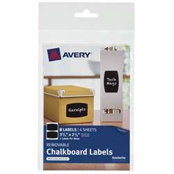 Avery Rectangle 8Pk Removable Chalkboard Labels 3 , AVE73301
