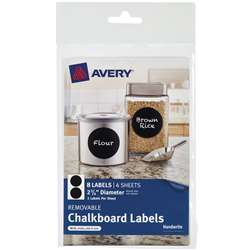 Avery Round 8Pk Removable Chalkboard Labels 2 3/4I, AVE73302
