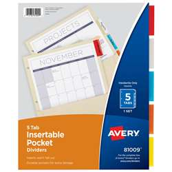 Pockets N Tabs Insertable Dividers 5 Tab Set By Avery Dennison
