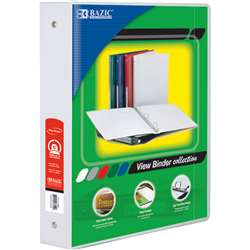 "3Ring Binder with 2 Pockets 15"" Wht, BAZ3148"