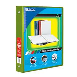 "3Ring Binder with Pockts 1"" Lime Grn, BAZ4124"