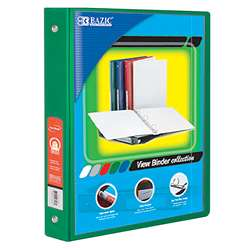 "3Ring Binder with 2 Pockets 15"" Grn, BAZ4142"