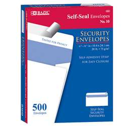 10 Self Seal Security Envelopes, BAZ5064