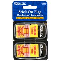 "1"" Yellow Sign Here Flags 50Ct Stick On Flags, BAZ5174"