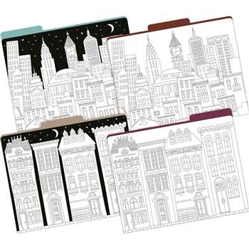 Letter Size File Folders Color Me Cityscapes Multi, BCP1344