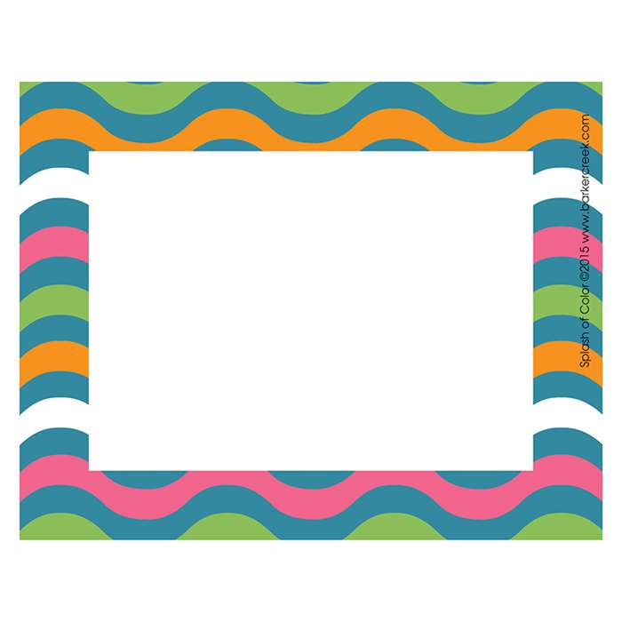 Splash Of Color Wave Name Tags Self-Adhesive Label, BCPLL1536