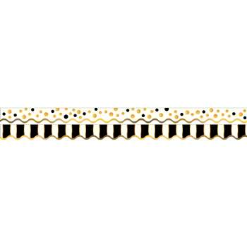 Gold Bars Border Double-Sided Scalloped Edge, BCPLL902