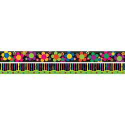 Neon Stripe And Flower Border Double Sided, BCPLL946