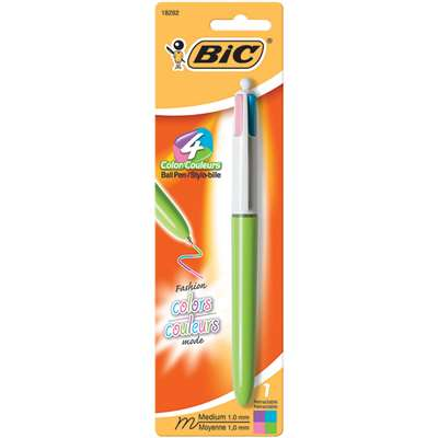 Bic 4 Color Pens Green Barrel By Bic Usa