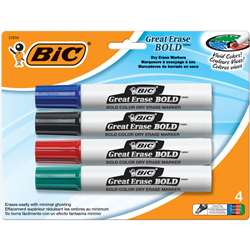 Bic Great Erase Dry Erase Chisel Point Markers 4 Pack By Bic Usa