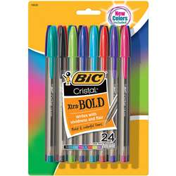 Bic Cristal Xtra Bold Pack Of 24, BICMSBAPP241AST