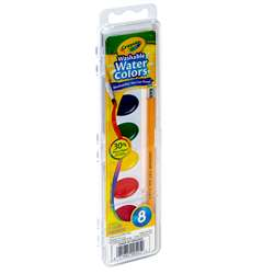 Washable Water Colors 8 W/Brush By Crayola