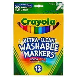 Crayola Washable Markers 12Ct Asst Colors Fine Tip By Crayola