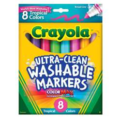 Washable Markers Tropical 8 Pk Conical By Crayola