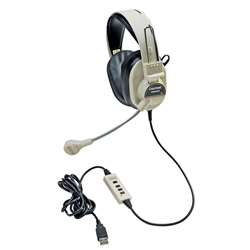 Deluxe Multimedia Stereo Headset W/ Boom Microphone W/ Usb Plug By Califone International