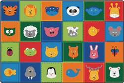 KIDSoft Animal Patchwork - Primary 6'x9' Rectangle Carpet, Rugs For Kids