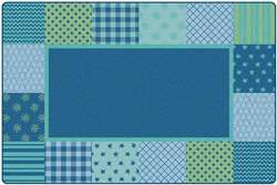KIDSoft™ Pattern Blocks - Blue 8'x12' Rectangle Carpet, Rugs For Kids