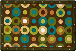 Alphabet Calming Circles Rectangle 4'x6' Carpet, Rugs For Kids