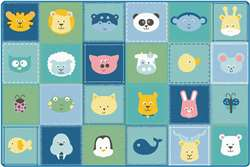 KIDSoft™ Animal Patchwork - Soft 8'x12' Rectangle Carpet, Rugs For Kids