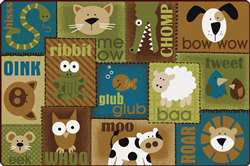 Animal Sounds Nature 4'x6' Rectangle Carpet, Rugs For Kids