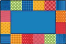 KIDSoft™ Pattern Blocks - Primary 4'x6' Rectangle Carpet, Rugs For Kids