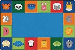 KIDSoft Baby Animals Border Rug - Primary 8'x12' Rectangle Carpet, Rugs For Kids