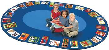 "Reading by the Book Oval 8'3""x11'8"" Carpet, Rugs For Kids"