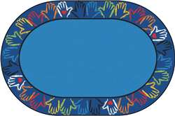 Hands Together Border Rug 6'x9' Oval Carpet, Rugs For Kids