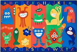 "Alphabet Monsters 3'x4'6"" Rectangle Carpet, Rugs For Kids"