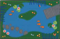 "Tranquil Pond 3'x4'6"" Rectangle Carpet, Rugs For Kids"