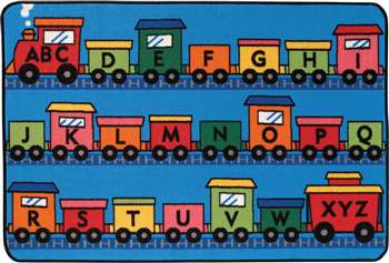 "Alphabet Train Rectangle 3'x4'6"" Carpet, Rugs For Kids"