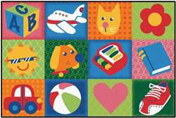 "Toddler Fun Squares 3'x4'6"" Rectangle Carpet, Rugs For Kids"