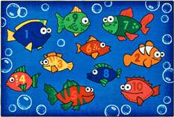 "Something Fishy Rug Rectangle 3'x4'6"" Carpet, Rugs For Kids"