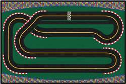 "Super Speedway Racetrack Rug 3'x4'6"" Rectangle Carpet, Rugs For Kids"