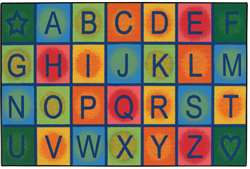 "Simple Alphabet Blocks 3'x4'6"" Rectangle Carpet, Rugs For Kids"