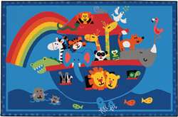"Noah's Animals 3'x4'6"" Rectangle Carpet, Rugs For Kids"