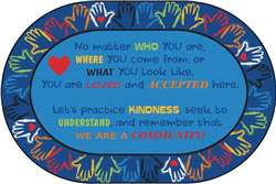 Hands Together Community Rug 6'x9' Oval Carpet, Rugs For Kids