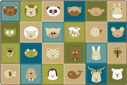KIDSoft™ Animal Patchwork - Nature 6'x9' Rectangle Carpet, Rugs For Kids