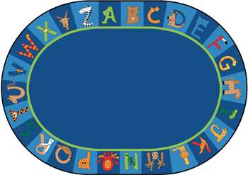 "A to Z Animals! Oval 8'3""x11'8"" Carpet, Rugs For Kids"