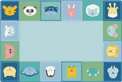 KIDSoft™ Baby Animals Border Rug - Soft 8'x12' Rectangle Carpet, Rugs For Kids