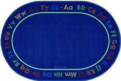 "Chalk & Play Literacy 6'9""x9'5"" Oval Carpet, Rugs For Kids"