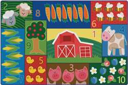 Toddler Farm Counting Rug 4'x6' Rectangle Carpet, Rugs For Kids