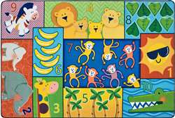 Jungle Jam Counting Rug 4'x6' Rectangle Carpet, Rugs For Kids