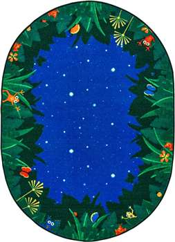 "Peaceful Tropical Night Oval 7'8""x10'10"" Carpet, Rugs For Kids"